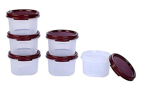 Signoraware Round Modular Container Set, 200ml, Set of 6, Maroon