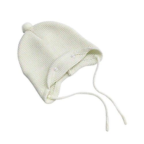 LuckyGirls Mütze Baby Mädchen Jungen Warme Woolen Coif Haube Ball Top Hut Ohrenklappen Kappe (Weiß)