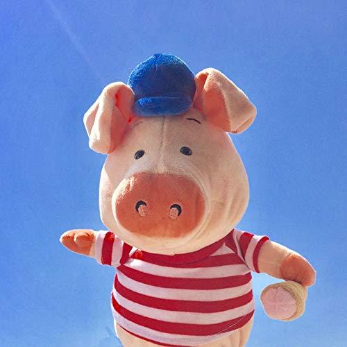 DONGER Niedliches Schwein Puppe Mädchen Puppe Spielzeug, Blaue Hut Rot Gestreifte Kleidung EIS Schwein, Ca. 30 cm Lang (Rot Gestreifte Hut)