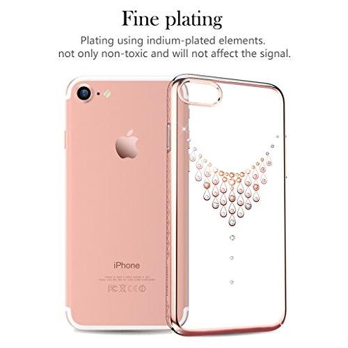 """Kingxbar for iPhone 8 Plus/7 Plus Coque, Cair Cristaux de SWAROVSKI Element Anti Scratch Anti poussière avec 1mm Ultra Mince PC dur Transparent Housse Etui for 5.5"""" iPhone 7/8 Plus((Net-Black)) Dew-Rose"""