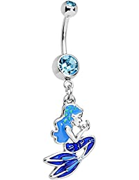 Body Candy Stainless Steel Brilliant Blue Accent Blue Mermaid Dangle Belly Ring