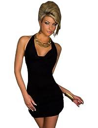 Blansdi Damen Sexy Damen V-Ausschnitt Rueckenfrei Kleid Minikleid Party Abendkleid Cocktailkleid Dress Skirt Schwarz