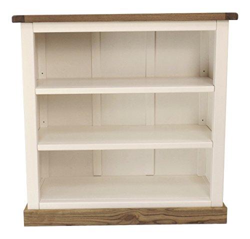 Schrank Niedriges Bücherregal mit Vierkant Bits Rock, Holz, Weiß -