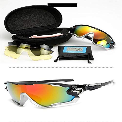 ANSKT Polarisierte Sportbrille, professionelle Fahrradbrille mit 3 Wechselgläsern, blendfrei UV400 @ 1