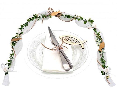 Ehrenplatz Weiß Grün Kommunion Konfirmation Fisch Tischdeko Natur Vintage