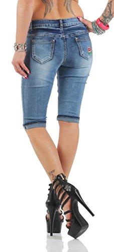 Fashion4Young Knackige Damen Jeans Bermuda Hose Röhrenjeans Denim Shorts Hotpants Bohostyle 11132-blau