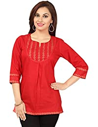 Color Petal Red Colour Short Cotton Designer Short Kurti Tunic Top For Women