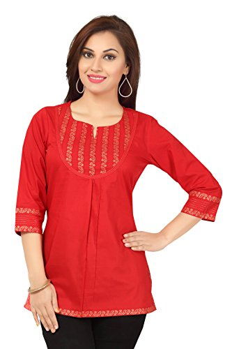 Color Petal Red Colour Short Cotton Designer Short Kurti Tunic Top for...