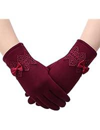 3a863b4340fee2 Superora Handschuhe Winter Touchscreen Damen dicke Fahrradhandschuhe  elegante Schleife Winterhandschuhe mit Fleecefutter gefüttert warm für kalte