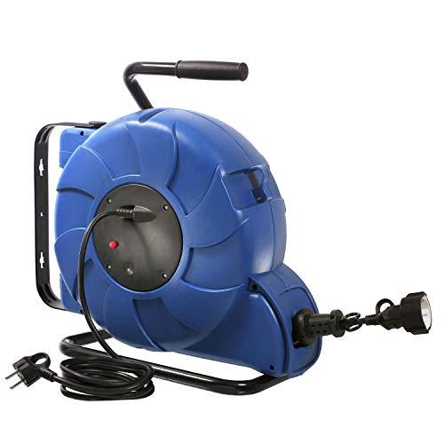 as - Schwabe Automatischer Kabelaufroller - 20 m Kupplungsleitung & 2 m Steckerzuleitung - Aufroller mit Federzug-Automatik, Schutzkontaktstecker & Schutzkontaktkupplung - IP44 - Blau I 12633