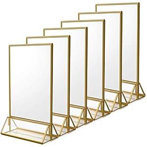 6 Stück Thekenaufsteller A5 Bilderrahmen Gold, Goldenes Seitenklares Acryl Werbeaufsteller T-Aufsteller Tischaufsteller für Hochzeitsparty (14,8 x 21,0 cm)