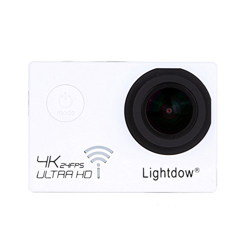 Lightdow Real 4K 12.40M Pixel High Speed Wi-Fi Sports & Action Camera [ DSP Chip NOVATEK NT96660 + SONY IMX117CQT COMS Sensor + 170° Wide Angle Lens ] (White)
