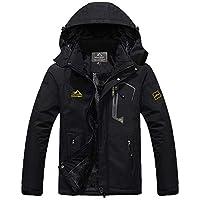 TACVASEN Winter Jacket Men Warm Waterproof Skiing Jacket Fleece Snowboarding Military Outdoor Lightweight Jacket Coat Parka with Hood Raincoat Black