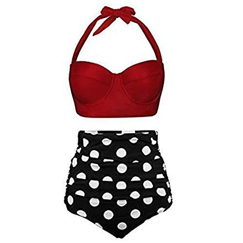 HDUFGJ Damen Bademode Bikinihosen Bikinioberteile Hohe Taille Push Up Bikini-Sets Set Frauen-hohe Taillen-Bikinis-Badebekleidungs-Badeanzug-weiblicher Retro- Beachwear-Bikini Tropical Crop Hose