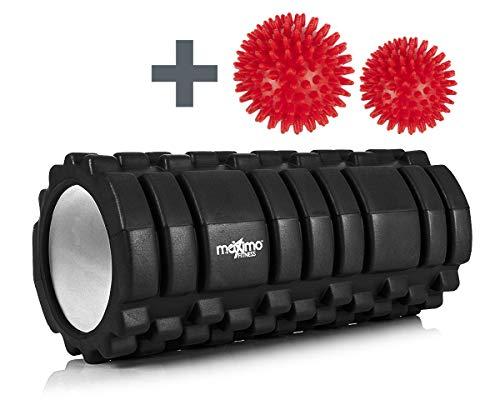 Maximo Fitness Schaumstoffrolle - Massagerolle - Fantastische Foam Roller für Fitnessstudio, Pilates oder Yoga - Myofasziale Entspannung - 14 cm x 33 cm - Inklusive Anleitung (Black)