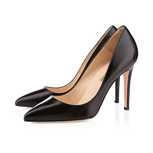 EDEFS Femmes Artisan Fashion Escarpins Délicats Classiques Elégants Pointus Des Couleurs Chaussures à talon de 100mm Orange Noir