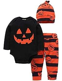 K-youth Ropa Bebe Niño Otoño Invierno Infantil Recien Nacido Body Bebé Niña Manga Larga Camisas Bebé Mono Mameluco para Halloween + Pantalone + Sombrero Trajes Conjuntos