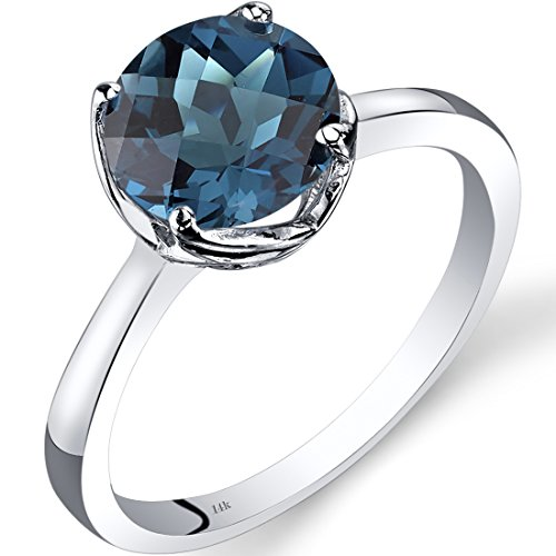 Revoni 14ct White Gold London Blue Topaz Solitaire Ring 2.25 Carat Checkerboard Cut