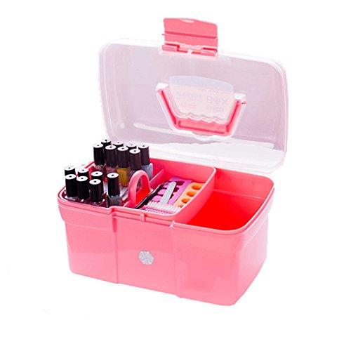 Babysbreath17 Handheld-Desktop Storage Box Kunststoff Schere Makeup Organizer Schmuck Nagellack-Feder-Behälter-Maniküre-Werkzeug-Kasten Pink # 1
