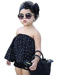Conjunto Rope para bebe niña verano SHOBDW Hombro Camisa para Niñas sin tirantes blusa moda Tops para chica pantalones cortos+blusa +venda
