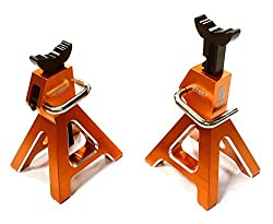 Integy Rc Hobby C26409 Orange Realistic Model 6 Ton Jack Stands (2) For 1/10, 1/8 Scale & Rock Crawler