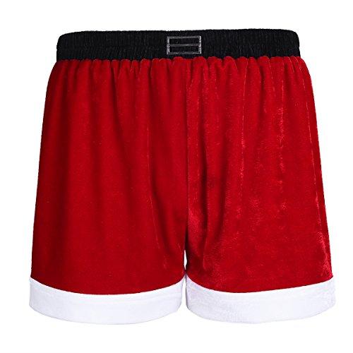 CHICTRY Herren Boxershorts Weihnachtsmann Kostüm Unterwäsche Weihnachten Geschenk Boxer Briefs Shorts Unterhose M-XL Rot X-Large