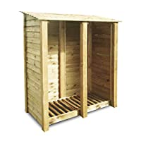 Rutland County Garden Furniture COTTESMORE 6FT WOODEN LOG STORE/GARDEN STORAGE, GREEN, HEAVY DUTY, HAND MADE, PRESSURE TREATED.