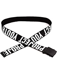 PBFONE Moda Mujer Hombre Cinturón de Tela para Pantalones Vaqueros con  Metal Botón Cuadrado Sin Agujeros Cinturón de Cintura Diseño… e1dfb681c5b4