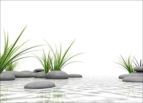 Artland Qualität I Glas Küchenrückwand ESG Spritzschutz Küche 90 x 65 cm Wellness Zen Stein Foto Natur G5SU 3 D Steine