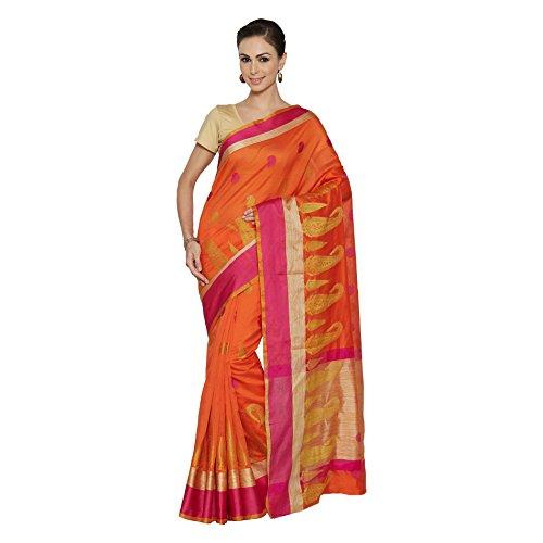 Viva n Diva Sarees for Women's Orange Color Banarasi Silk Saree With Unstitched Blouse Piece