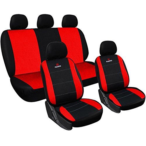 WOLTU AS7317 Set Completo di Coprisedili per Auto Seat Cover Macchina Universali Protezione per Sedile di Poliestere Classici Nero-Rosso