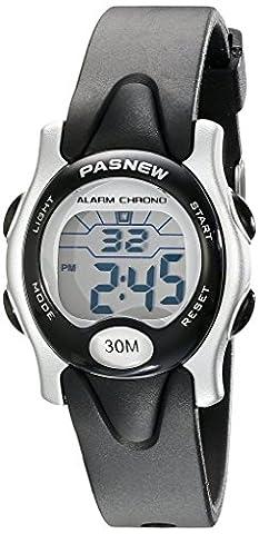 Pasnew Cute Digital Sport Waterproof Wrist Watch with Alarm Stopwatch for Kids Boys Girls (Black)