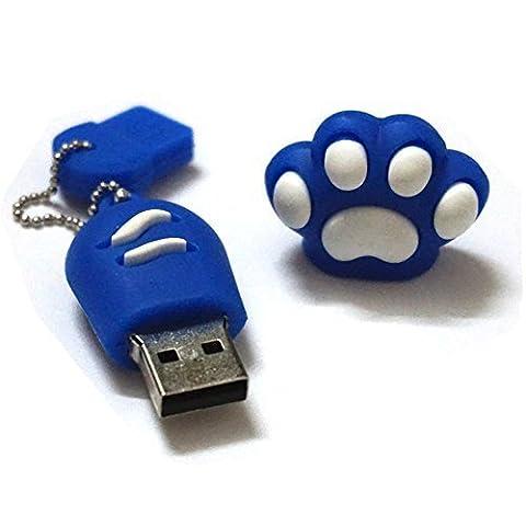 Cat Paw Pet USB Flash Drive 8GB - Memory Stick Data Storage - Pendrive - Blue and White