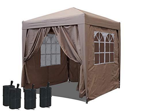 QUICK STAR Pop-Up-Pavillon 2 x 2 m Sand mit Fußbeschwerer und mit 4 Easy-Klett Seitenwänden mit 2 Reißverschlüssen.