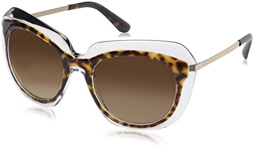 Dolce & Gabbana Damen 0Dg4282 757/13 54 Sonnenbrille, Braun (Havana On Transparent/Brown Gradient)
