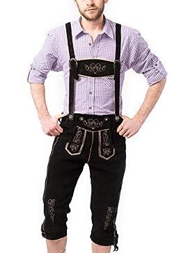 Tannhauser Kurze Trachten Lederhose Gustav aus echtem leder mit Hosenträger