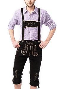 Tannhauser 0108-01-58 - pantalones de cuero Pedro de ante calzón corto, negro