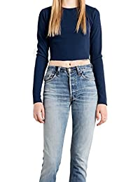 Vovotrade Mujer Vendaje de espalda Blusa Escotado por detrás Paraguas Delgado Manga larga Camisa Camiseta