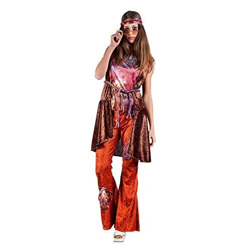 Hippie Lady Kostüm 70er Jahre Karnevalskostüm Damen Samtlook - (Erwachsene Peach Kostüme Für)