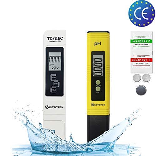 KETOTEK PH Messgerät Digital Wassertester Wasserqualität TDS EC PH-Teststift Wasserpflege 0-14PH Wasser Messen Tragbar PH Instrument LR44 Batterie Enthalten (PH+TDS&EC)
