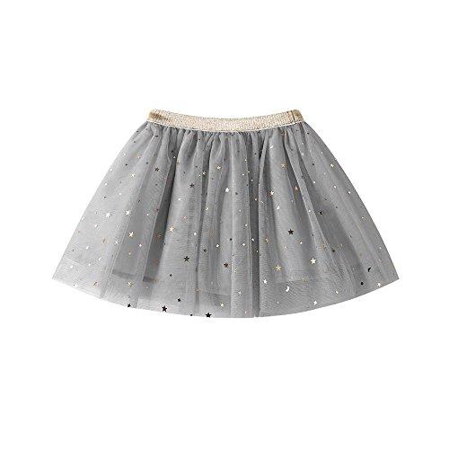 HUIHUI Mädchen Prinzessin Sterne Pailletten Tütü Rock Petticoat Tüllrock Ballkleid Abendkleid Ballettrock Perfekt für Fasching rosenmontag 2019 (130 (5-6Jahre), Grau)
