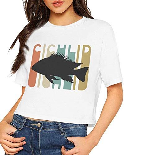 Womens Sexy Kurzarm T-Shirt Vintage Style Cichlid Silhouette gedruckt Nabel (S, als Foto)