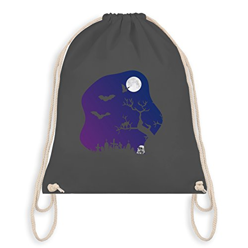 Halloween - Friedhof gruselig Totenkopf Mond - Unisize - Dunkelgrau - WM110 - Angesagter Turnbeutel / Gym Bag (Halloween Grabstein Namen)