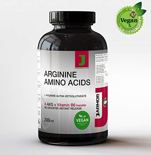 Arginina akg integratore pillole + vitamina b6   200 capsule   aminoacido puro per massa muscolare testosterone e vigore   precursore della citrullina   azione duratura e immediata   vegan