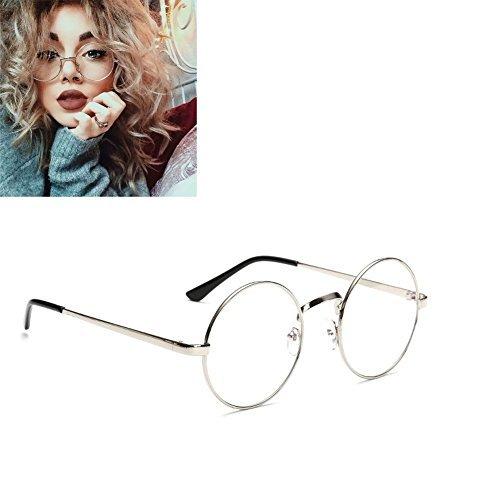 f-eshiat Unisex Rund Gläser Metall Frame Sommer Retro Clear Lens Vintage Geek Übergroße eyelasses