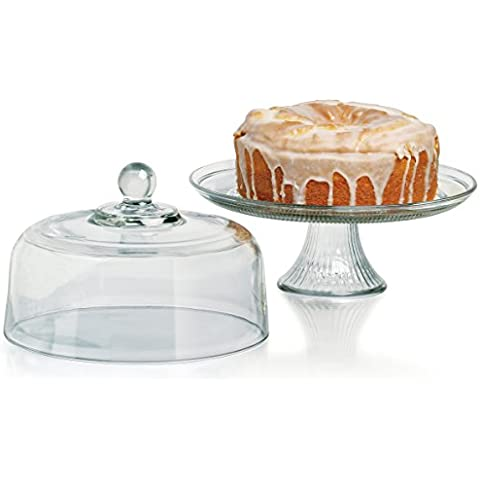 Anchor Hocking Canton Cake Set w/ Dome, 2-Piece Stand &