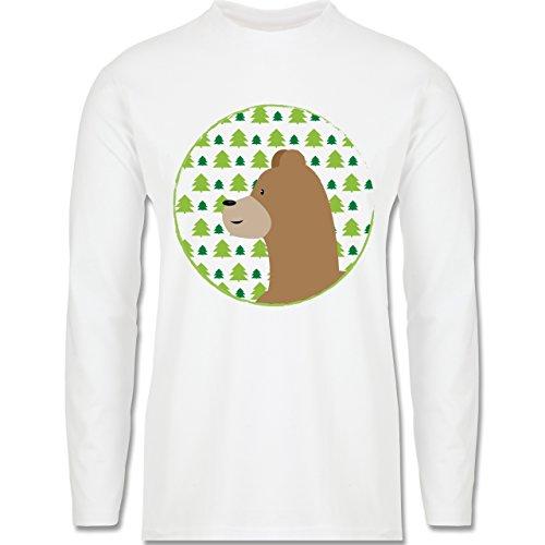 Wildnis - Tiermotiv Bär - Longsleeve / langärmeliges T-Shirt für Herren Weiß