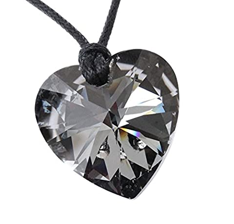 Large 28mm Crystal Silver Night Black adjustable heart pendant necklace made with Crystals from Swarovski