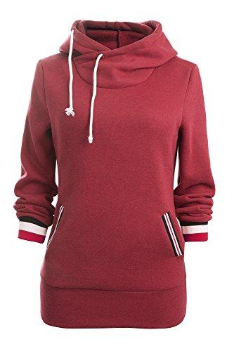 Aitos Kapuzenpullover Damen Hoodie Sweatshirt Top Streifen Hipster Mode Lässige Herbst Winter (Schwarz,Rot, Grau, Blau/S,M,L,XL,XXL)