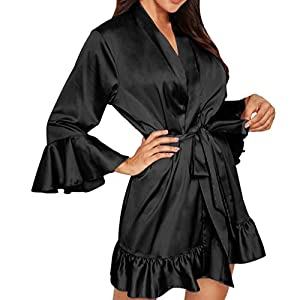 Plus Size Sexy Lingerie Women Silk Stripe Robe Satin Bathrobe Sleepwear Pajamas